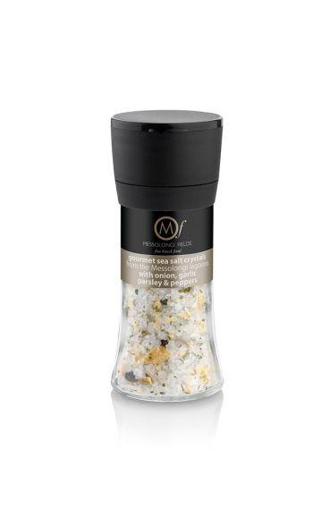 Gourmet Sea Salt with onion, garlic, parsley & peppers 95gr