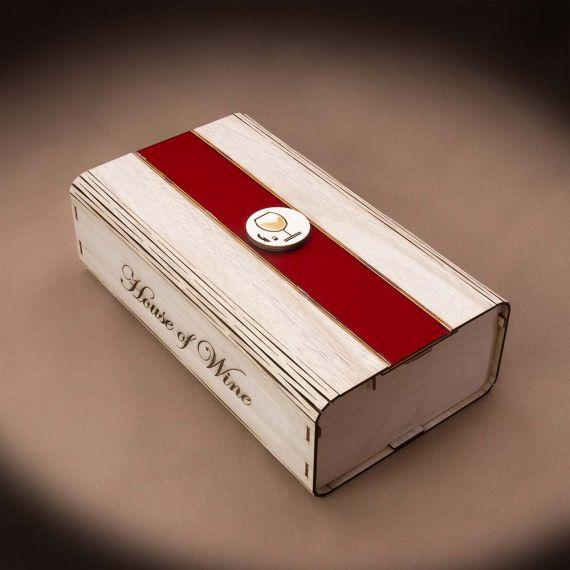 Wooden Box 2 φιαλών με Plexiglass